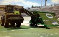 Turf Muncher machine for uplift of old astroturf sports pitches