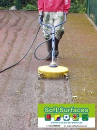 Cleaning Tennis Courts MUGA sports surfacing with pressure washing