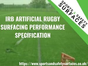 "Background of Artificial Rugby Surface being inspected with green overlay. URL in bottom right and Sports and Safety Surfaces Logo in top right. Text ""IRB ARTIFICIAL RUGBY SURFACING PERFORMANCE SPECIFICATION"""