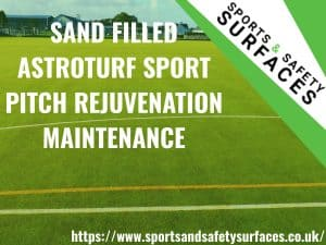 "Background of Sand Filled Astroturf with green overlay. URL bottom right, sports and safety surfaces logo top right. Text ""SAND FILLED ASTROTURF SPORT PITCH REJUVENATION MAINTENANCE""."