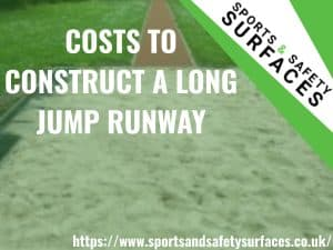 "Background of Long Jump Runway pit with green overlay. Bottom right URL, top right sports and safety surfaces logo. Text ""COSTS TO CONSTRUCT A LONG JUMP RUNWAY"""