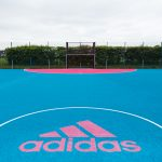 Pink and Blue Polymeric Sports Court Flooring