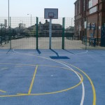 Basketball Court Surfaces with Blue Paint
