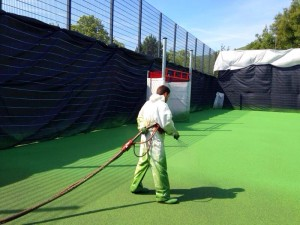 Sports Court Coloured Coating Application