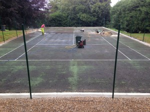 Pressure Washing and Recolouring Tennis Surface
