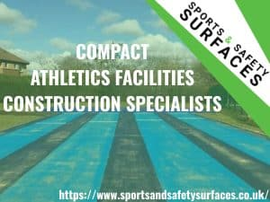 "Background of Compact Athletics Facility with green overlay and URL of website. Sports and Safety Logo in top right with text ""COMPACT ATHLETICS FACILITIES CONSTRUCTION SPECIALISTS""."