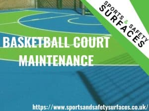 "Background of maintained Basketball Court with green overlay. URL bottom right, Sports and Safety Surfaces logo top right. Text ""Basketball Court Maintenance"""