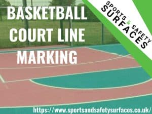 "Background of Basketball court line marking with green overlay. Bottom right URL, Top right Sports and Safety Surfaces. Text ""Basketball court line marking"""