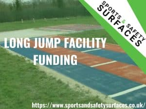 "Background of Long Jump with green overlay. URL in bottom right and Sports and Safety Surfaces Logo top right. Text ""Long Jump Facility Funding""."