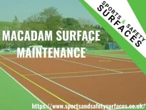 "Background of macadam surface maintenance and green overlay. Bottom right URL, top right sports and safety surfaces logo. Text ""Macadam Surface Maintenance"""