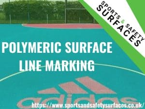 "Background of Polymeric Surface with green overlay. URL in bottom right and Sports and Safety Surfaces Logo in top right. Text ""Polymeric Surface Line Marking"""