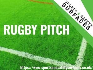 "Background of Rugby Pitch with Green overlay. Bottom Right URL, Top right sports and safety Surfaces logo. Text ""Rugby Pitch"""