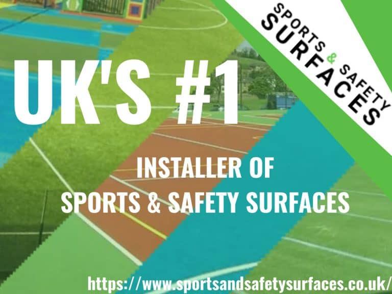 "Background of Macadam, 3G Pitch, Polymeric, Sand FIlled and Needlepunch with green overlay. Sports And Safety Surfaces Logo in corner with URL in lower corner. Text ""UK'S #1 Installer of Sports & Safety Surfaces""."