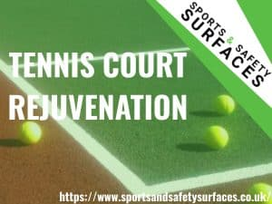 "Background of Tennis Court with green overlay. Bottom right URL, Top Right sports and safety Surfaces logo. Text ""Tennis Court Rejuvenation"""