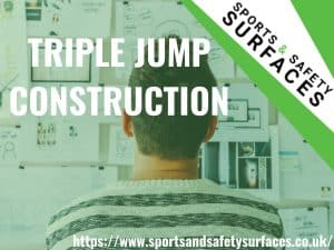 "Background of man Constructing and planning for Triple Jump with green overlay. Bottom right URL, Top right sports and safety surfaces. Text ""Triple Jump Construction"""