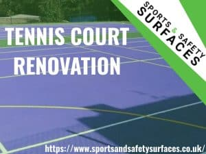 "Background of tennis court being renovated with green overlay. Bottom right URL, Top right sports and safety surfaces logo. Text ""tennis court renovation"""
